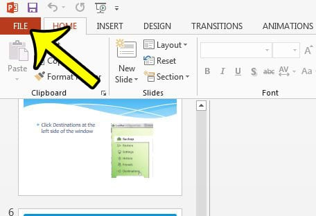 powerpoint 2013 file tab