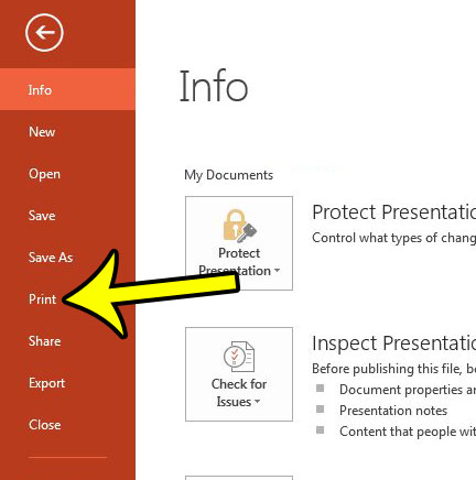 powerpoint 2013 print menu