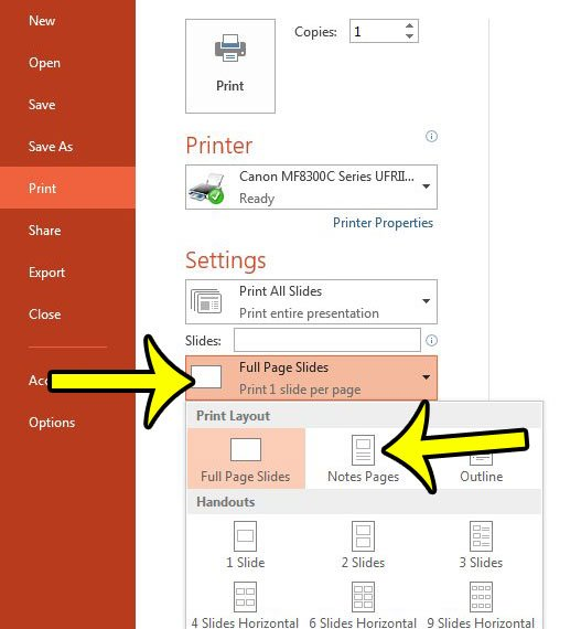 print notes pages in powerpoint 2013