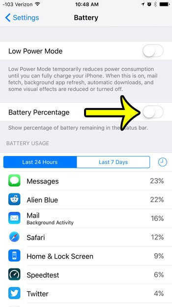 disable battery percentage