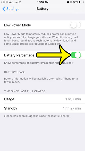 how to show battery percentage on iphone 6