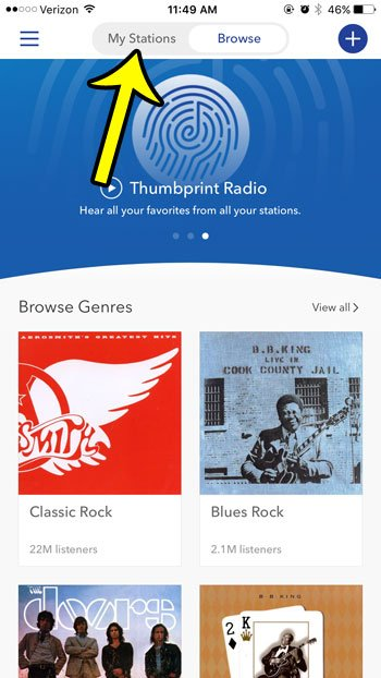 select my stations tab