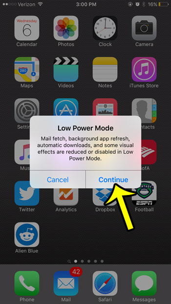 confirm low power mode