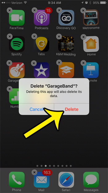 delete garageband on an iphone 7