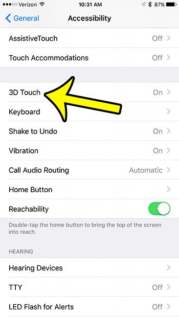 select the 3d touch option
