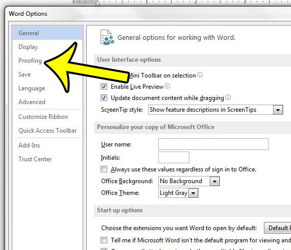 click the Proofing tab in Word Options