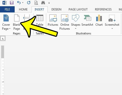 how to insert a blank page in a word 2013 document
