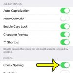 how to turn on the spell checker on an iphone 7