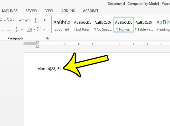 how to add filler or placeholder text in word 2013