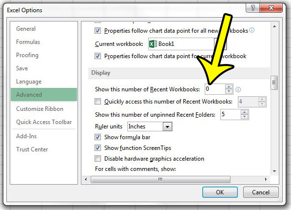 how to hide the recent documents list in excel 2013
