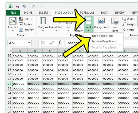 how to insert a page break in excel 2013