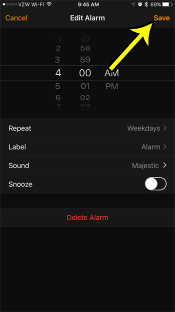 save your alarm settings