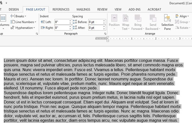 select all of the document text
