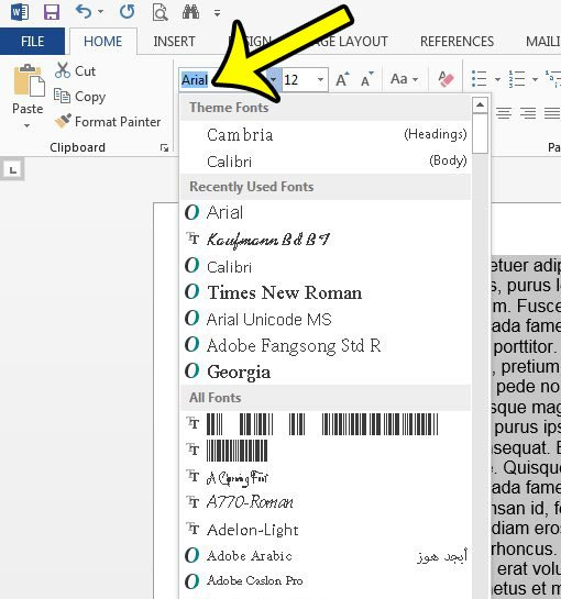 how to change the font for an entire document at once in Word 2013
