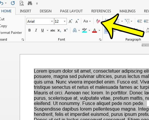 clear formatting from select text in word 2013