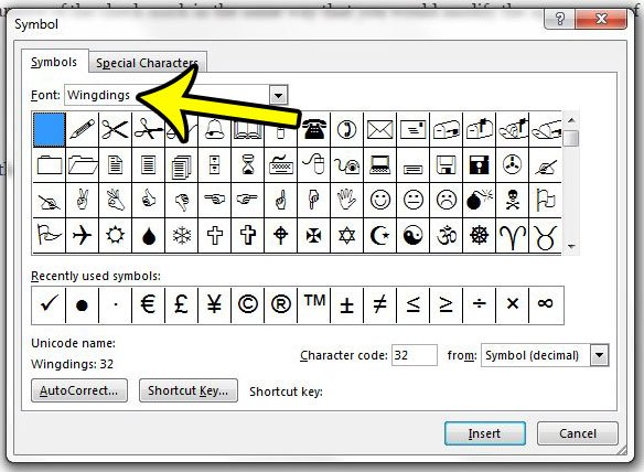 choose the wingdings font