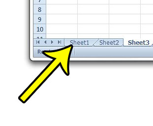 locate the Excel worksheet tabs