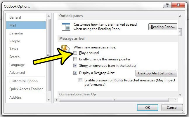 how to turn off the new email notification sound in outlook 2013