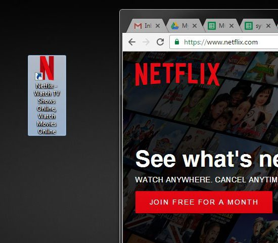 how to put a netflix icon on your desktop