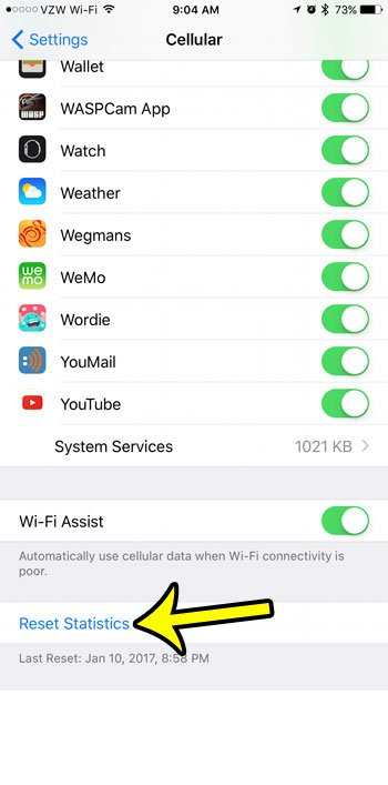 how to reset cellular data usage statistics on iphone 7