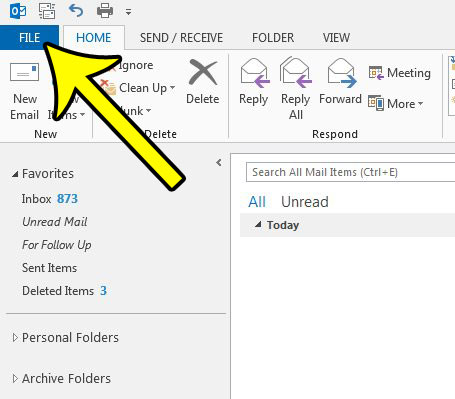 click the file tab in outlook 2013
