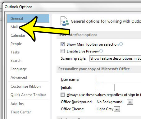 click the mail tab in outlook options