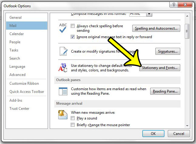 change fonts in outlook 2013