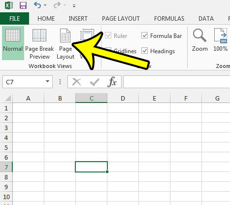 select the page layout view in excel 2013
