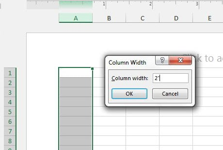 how to set excel column width in inches