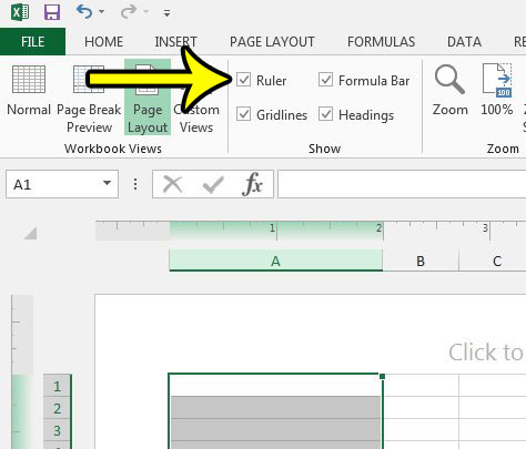 how to display the ruler above the spreadsheet