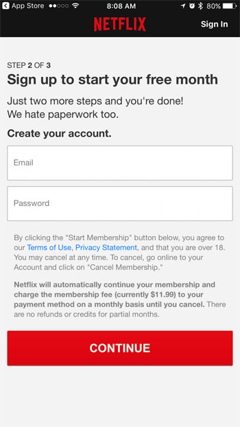 how to make a free netflix account on iphone