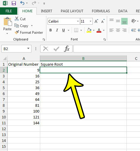 select the cell for the square root in Excel