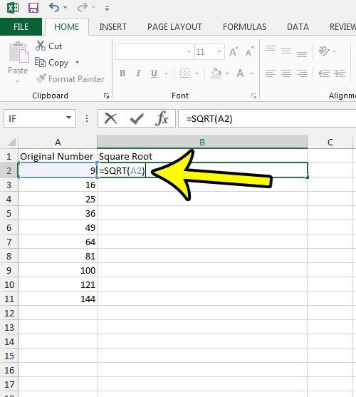 how to do a square root in excel 2013