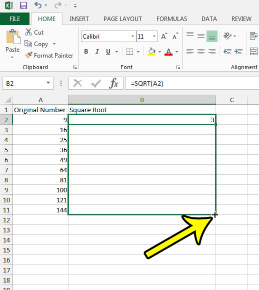 find a square root in excel 2013
