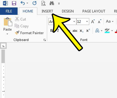 click the insert tab in word 2013