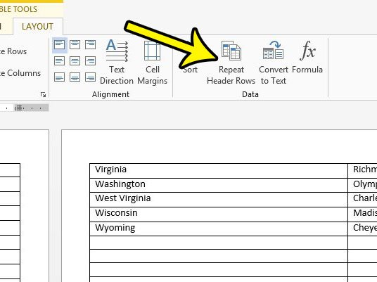 repeat header row in word 2013 table