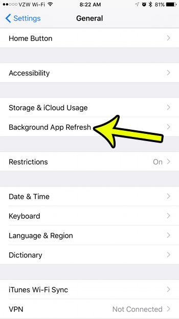 how to disable background app refresh on an iphone