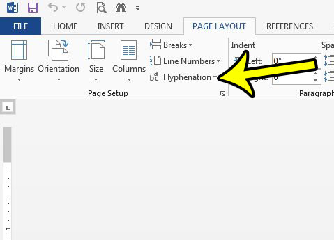 how to disable hyphenation in word 2013