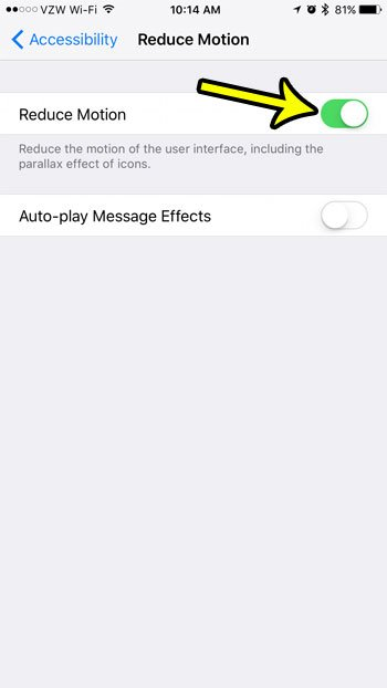 how to turn reduce motion on or off on an iphone 7