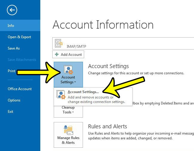 change an outlook password in outlook 2013