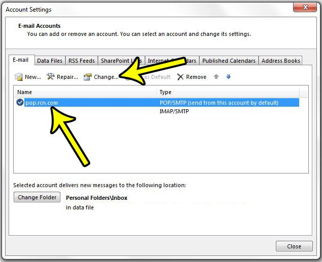how to change an outlook password
