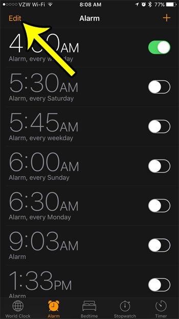 how to remove unwated alarms from an iphone