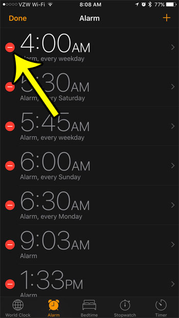 how to get rid of alarm clocks not being used on iphone