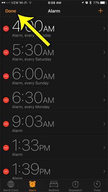 removing alarm clocks from an iphone 7