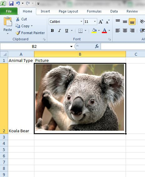 move picture with cell in excel 2010