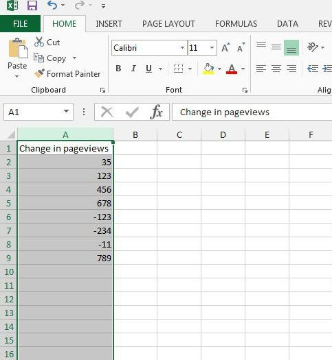 select the cells to format with red negative numbers