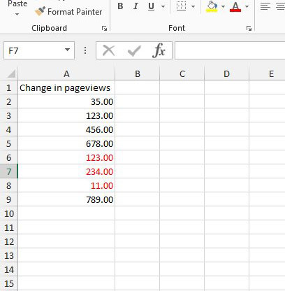 red negative numbers in excel 2013