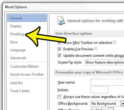 how to disable spell check in word 2013