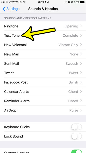 change text message sound on an iphone