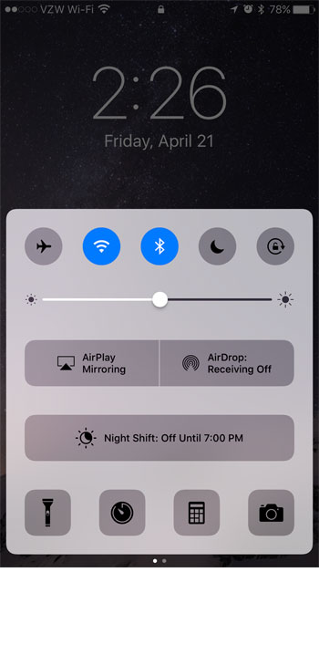 how to open the control center on the iphone 7